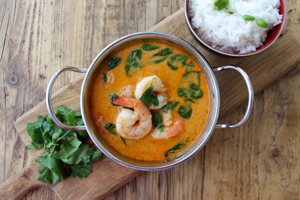 Krewetki w tajskim czerwonym curry 1