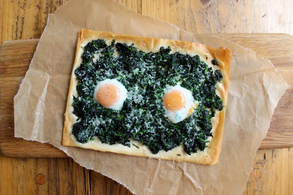 Tarta ze szpinakiem, parmezanem i jajkami 1